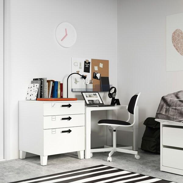 SMÅSTAD / PLATSA Cómoda de 3 cajones, blanco/blanco, 60x57x63 cm