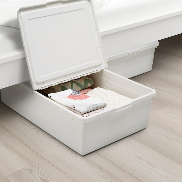 SOCKERBIT Caja con tapa, blanco, 50x77x19 cm