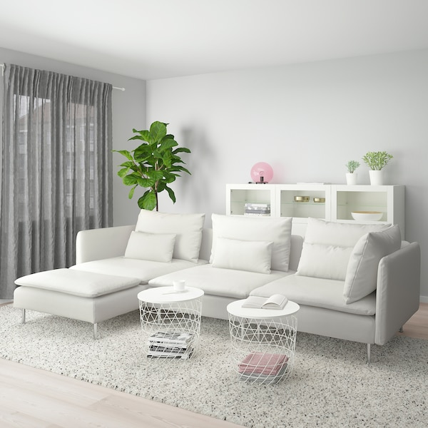 SÖDERHAMN Sofá 4 plazas, +chaiselongue/Finnsta blanco