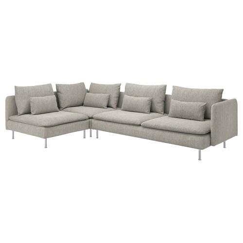 SÖDERHAMN sofá 4 plazas esquina +extremo abierto/Viarp beige/marrón 83 cm 69 cm 99 cm 192 cm 291 cm 14 cm 70 cm 39 cm