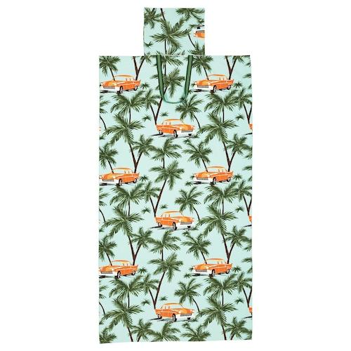 SOLBLEKT toalla playa con bolsa motivo palma/automóvil azul 180 cm 100 cm