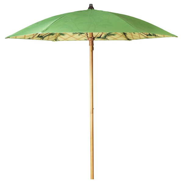 SOLBLEKT sombrilla motivo palmera verde 215 cm 185 cm 34 mm