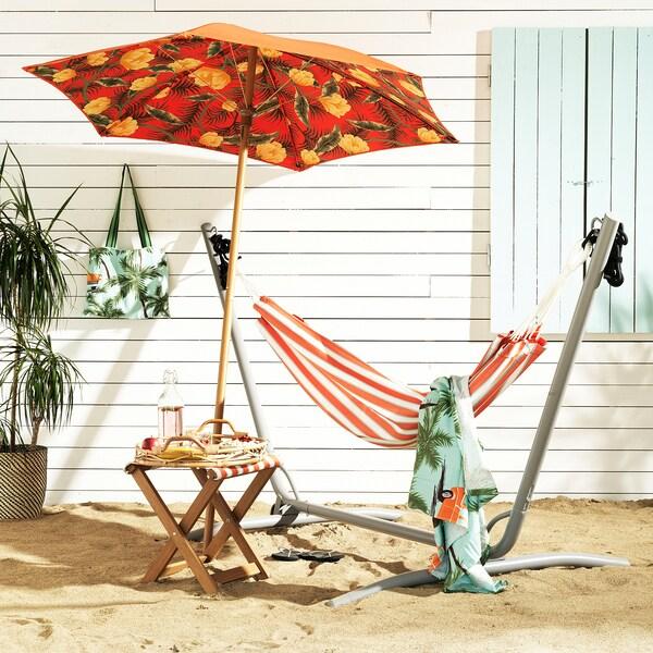 SOLBLEKT Toalla playa con bolsa, motivo palma/automóvil azul, 100x180 cm