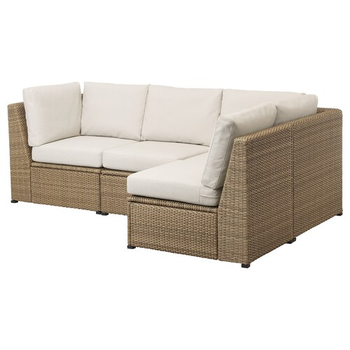 SOLLERÖN sofá 3 esquina modular exter marrón/Frösön/Duvholmen beige 82 cm 88 cm 144 cm 226 cm 48 cm 44 cm