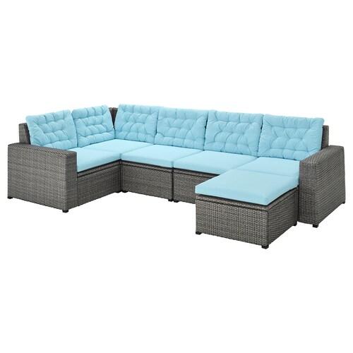 SOLLERÖN sofá 4 esquina modular exter +reposapiés gris oscuro/Kuddarna azul claro 82 cm 84 cm 287 cm 162 cm 2 cm 56 cm 40 cm 62 cm 62 cm