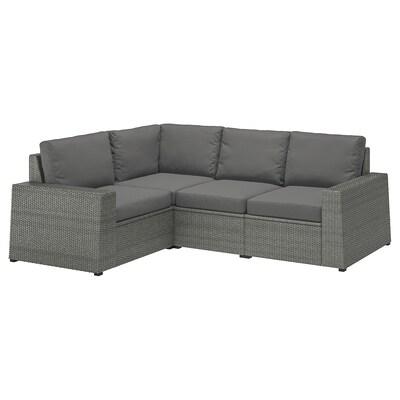 SOLLERÖN Sofá 3 esquina modular exter, gris oscuro/Frösön/Duvholmen gris oscuro