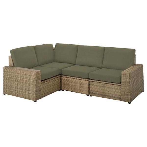 SOLLERÖN Sofá 3 esquina modular exter, marrón/Frösön/Duvholmen beige verde oscuro