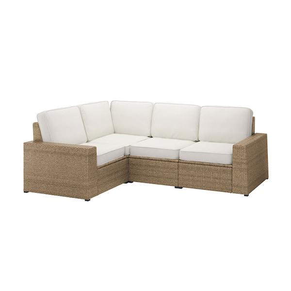 SOLLERÖN Sofá 3 esquina modular exter, marrón/Järpön/Duvholmen blanco