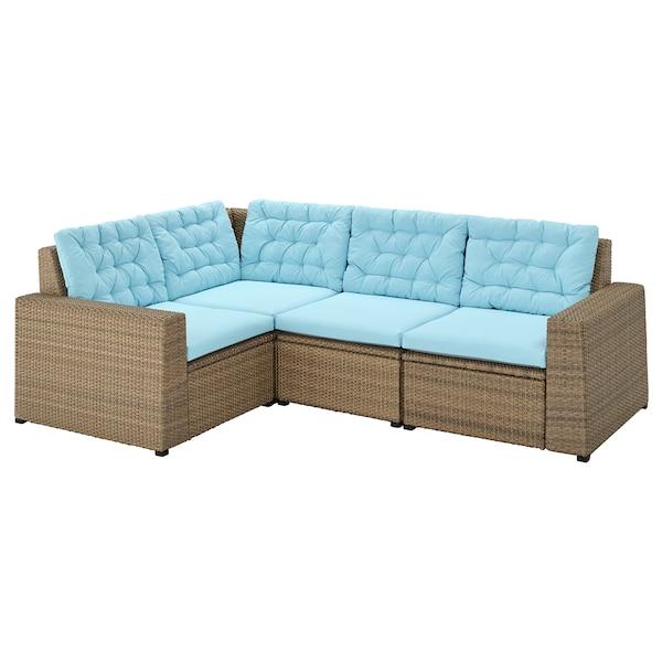 SOLLERÖN Sofá 3 esquina modular exter, marrón/Kuddarna azul claro
