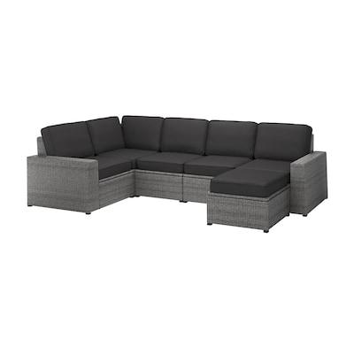 SOLLERÖN Sofá 4 esquina modular exter, +reposapiés gris oscuro/Järpön/Duvholmen antracita