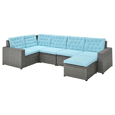 SOLLERÖN Sofá 4 esquina modular exter, +reposapiés gris oscuro/Kuddarna azul claro