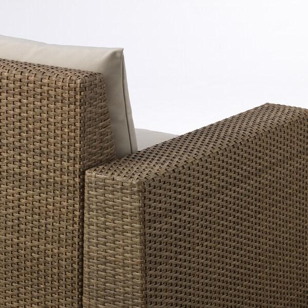 SOLLERÖN Sofá jardín modular 3 plazas, marrón/Hållö beige, 223x82x82 cm