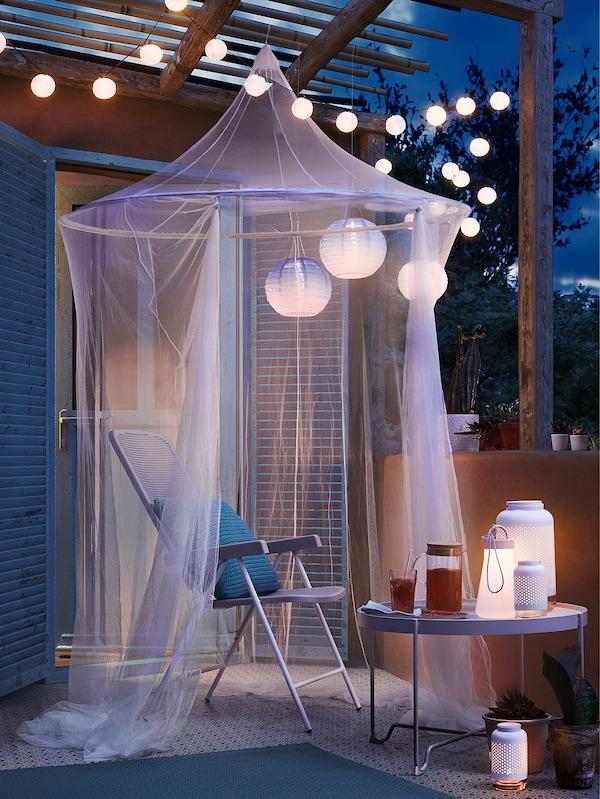 SOLVINDEN Guirnalda LED 12 bombillas, exterior/a pilas blanco