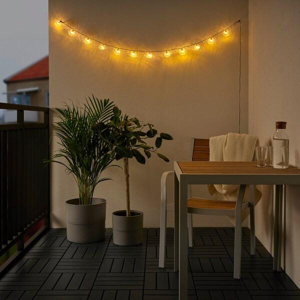 SOLVINDEN Guirnalda LED 12 bombillas, a pilas exterior/pez incoloro
