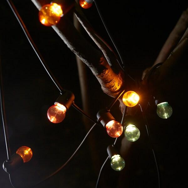 SOLVINDEN guirnalda LED 12 bombillas a pilas/exterior multicolor 1.5 m 30 cm 3.4 m 0.1 W 4.9 m
