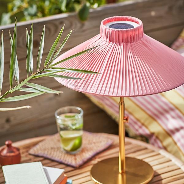 SOLVINDEN lámpara mesa solar LED exterior rosa 8 lm 40 cm 35 cm 12 cm 1 unidades