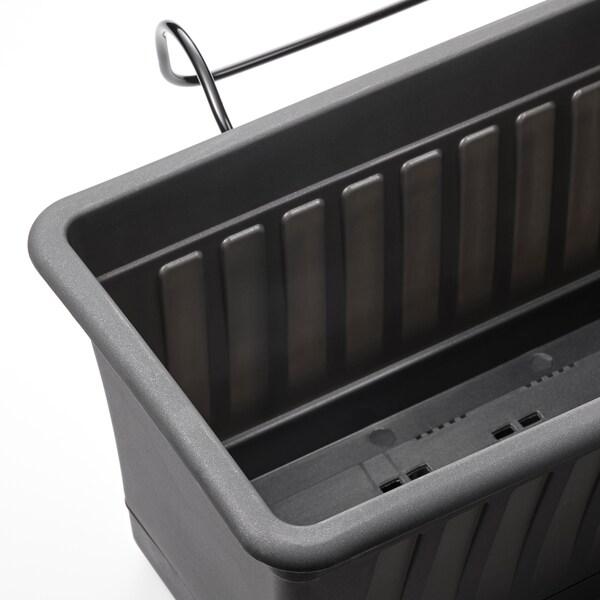 SOMMARFEST Macetero con soporte, int/ext antracita, 50x20 cm