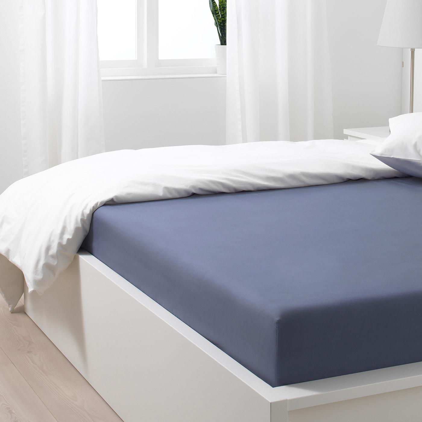 SÖMNTUTA Sábana bajera ajustable azul grisáceo 160x200 cm