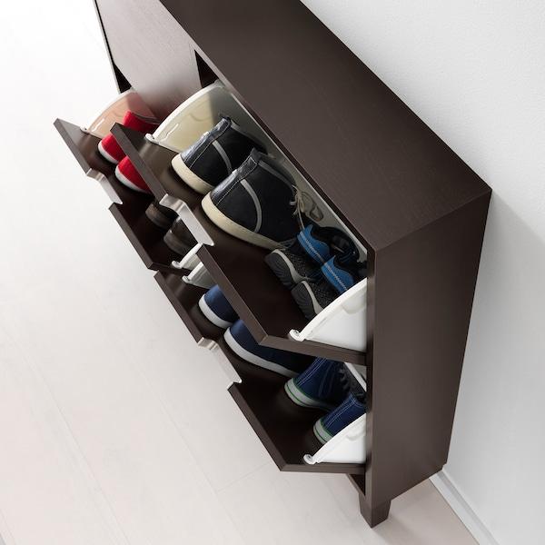 STÄLL zapatero con 4 compartimentos negro-marrón 96 cm 17 cm 90 cm