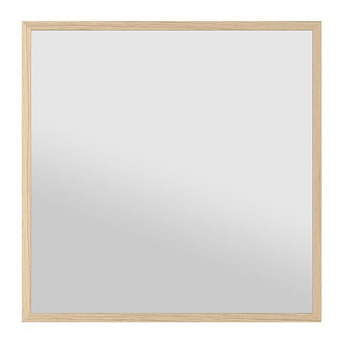 STAVE Espejo, efecto roble tinte blanco 70x70cm