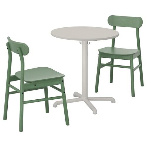 STENSELE / RÖNNINGE mesa y dos sillas gris claro gris claro/verde 70 cm