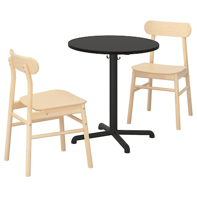 STENSELE / RÖNNINGE Mesa y dos sillas, antracita/antracita abedul, 70 cm