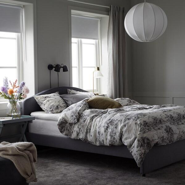 STJÄRNRAMS Funda nórdica y funda de almohada, blanco/gris, 150x200/50x60 cm