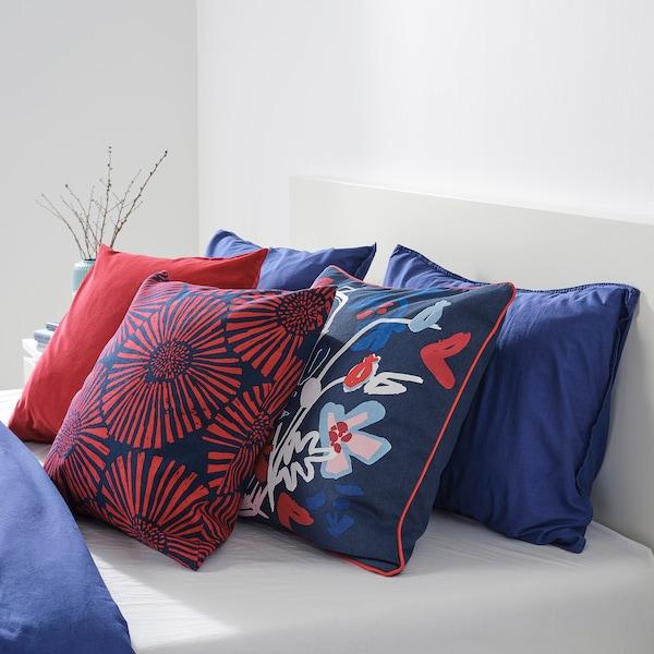 STJÄRNTULPAN Funda de cojín, azul oscuro/rojo, 50x50 cm