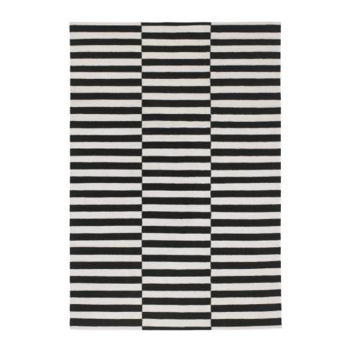 stockholm alfombra a mano/rayas negro/color hueso 170 x 240 cm - ikea