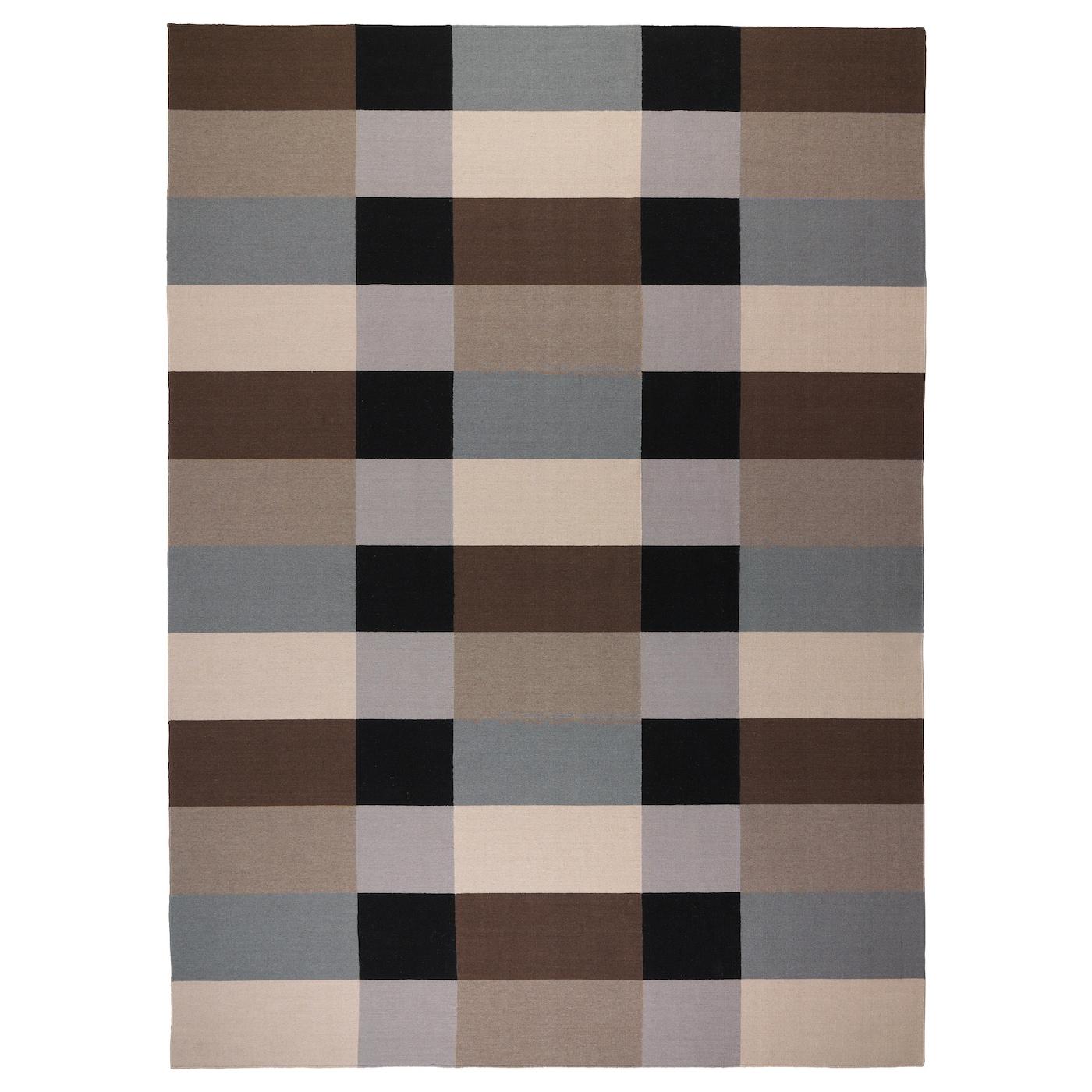 STOCKHOLM Alfombra a manoa cuadros marrón 250x350 cm