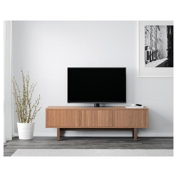 STOCKHOLM Mueble TV, chapa nogal, 160x40x50 cm
