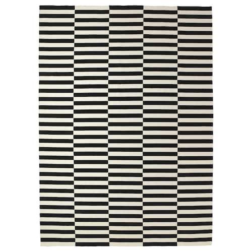 STOCKHOLM alfombra a mano/rayas negro/color hueso 350 cm 250 cm 4 mm 8.75 m² 1360 g/m²