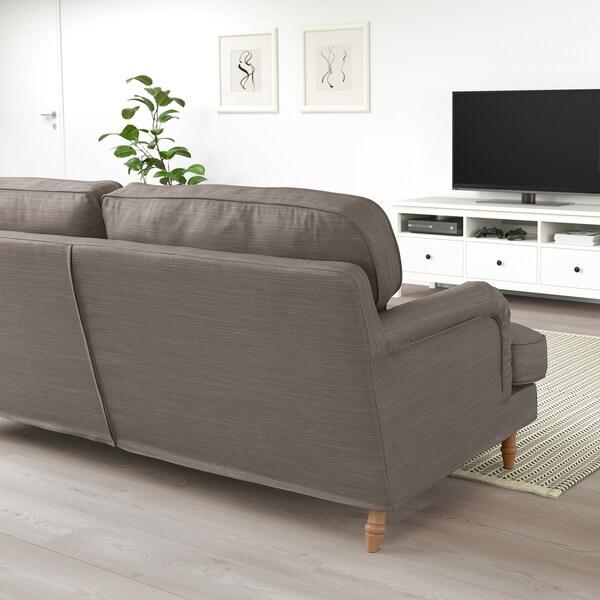 STOCKSUND Sofá 3 plazas, Nolhaga beige grisáceo/marrón claro/madera