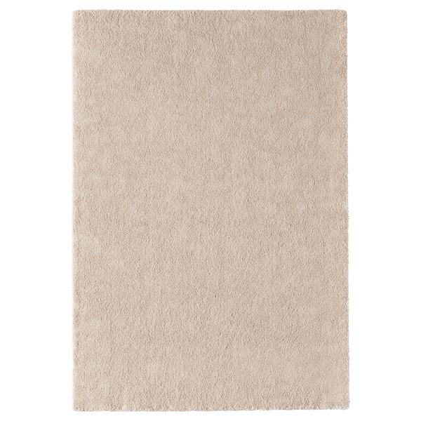 STOENSE Alfombra, pelo corto, hueso, 133x195 cm