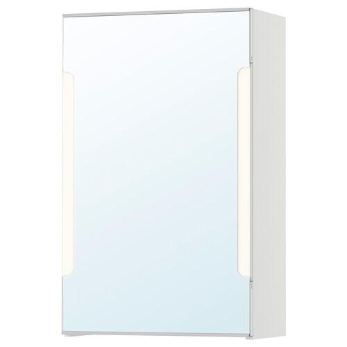 STORJORM arm espejo 1 pt/ilum integrada blanco 40 cm 21 cm 64 cm