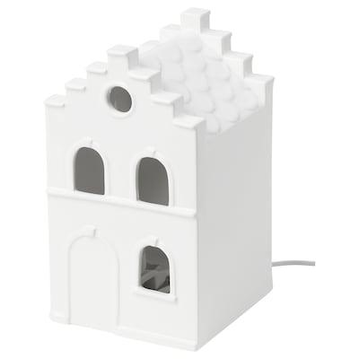 STRÅLA Adorno mesa LED, casa blanco