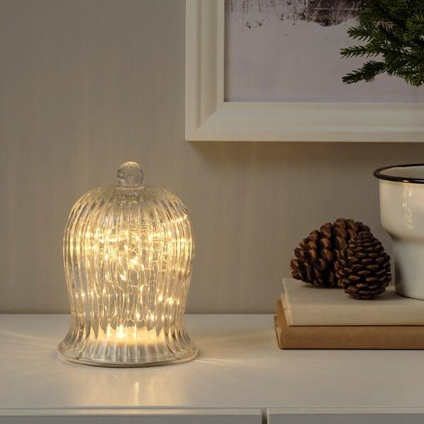 STRÅLA Adorno mesa LED, a pilas Forma de campana/grande transparente