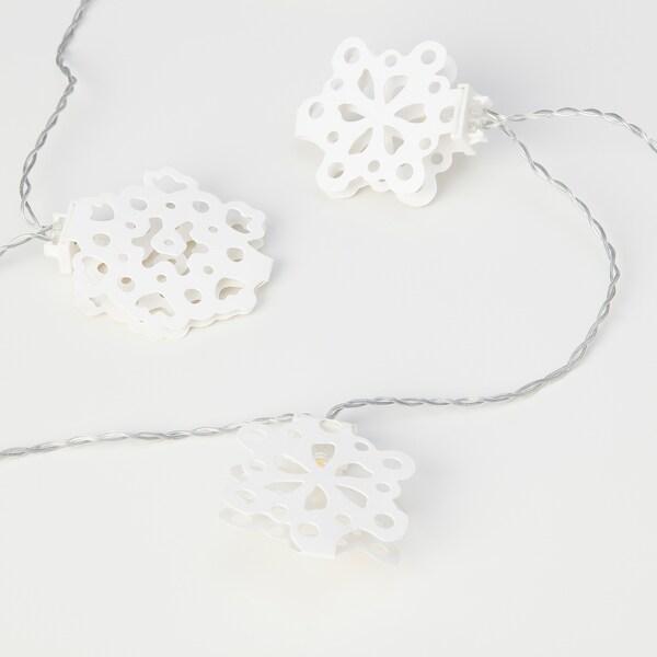 STRÅLA Guirnalda lum LED 12, a pilas/copos de nieve