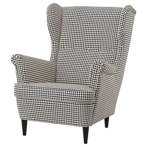 STRANDMON sillón orejero Vibberbo negro/beige 82 cm 96 cm 101 cm 49 cm 54 cm 45 cm