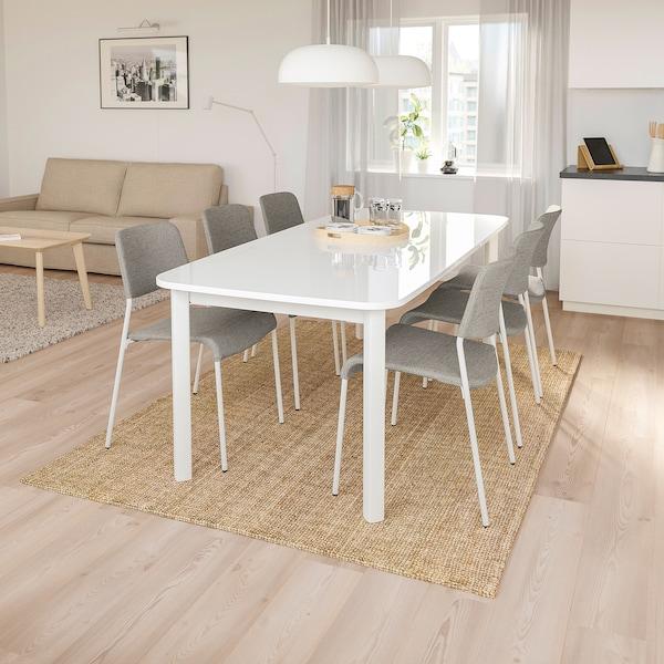 STRANDTORP / UDMUND Mesa y 6 sillas, blanco/Viarp beige/marrón, 150/205/260 cm