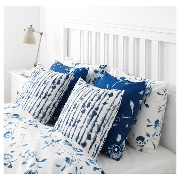 STRIMSPORRE Funda de cojín, blanco/azul, 50x50 cm