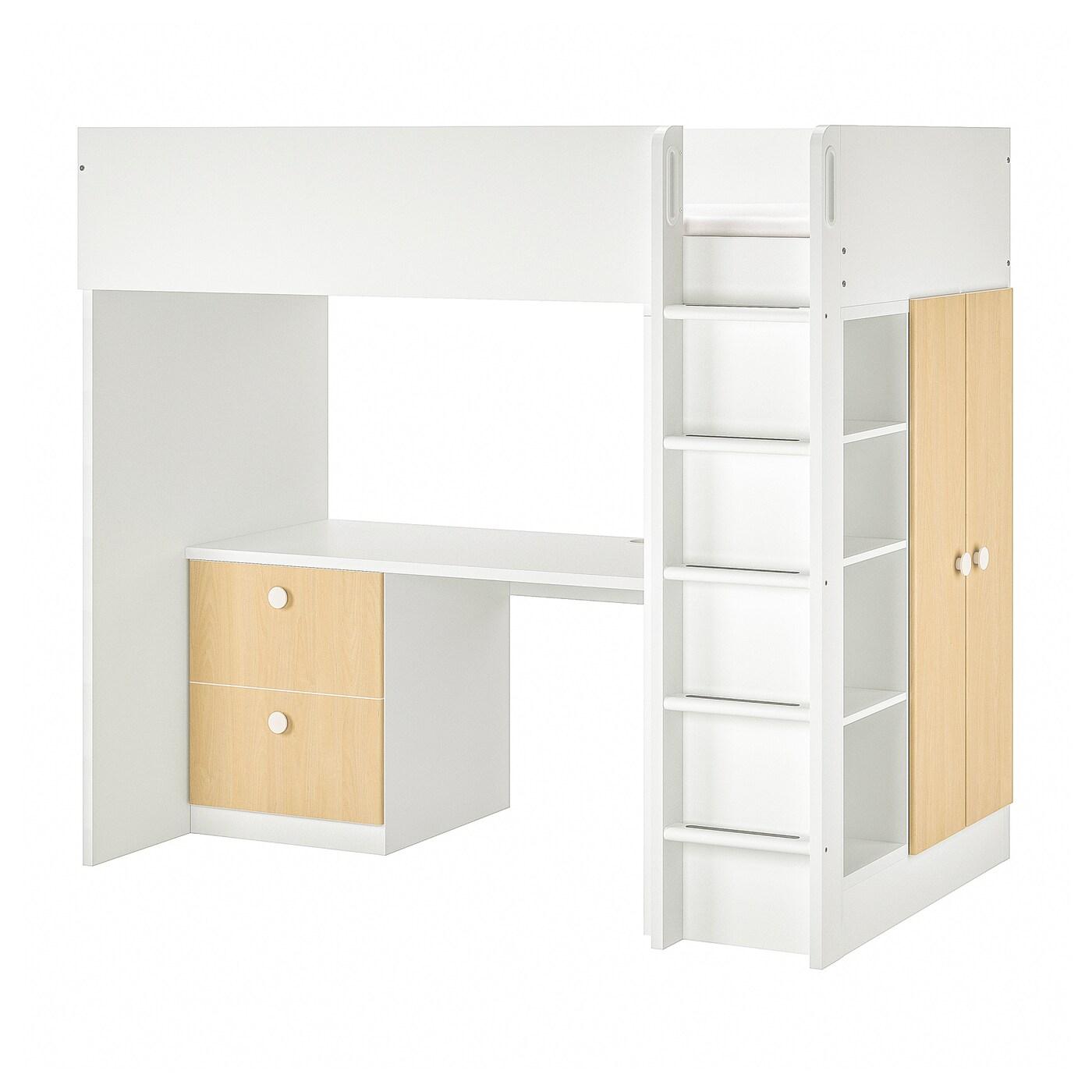 Cama alta + escritorio + armario