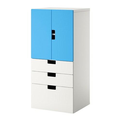 Stuva mueble de sal n con almacenaje blanco azul ikea for Mueble ikea salon