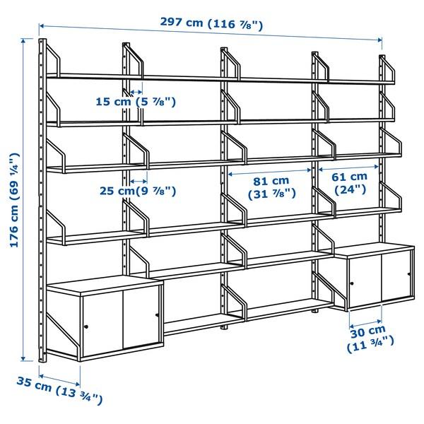SVALNÄS Estanterías modulares bambú/blanco 297 cm 35 cm 176 cm