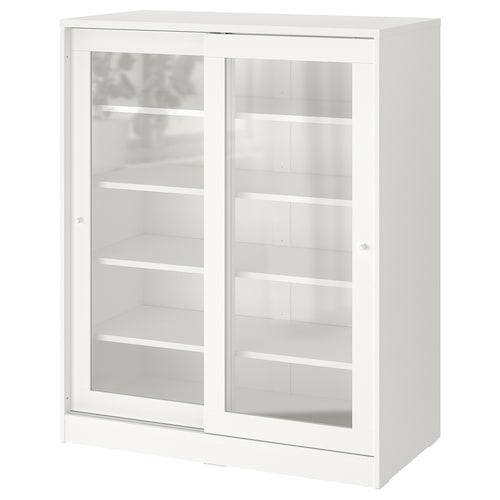 SYVDE armario con puertas vidrio blanco 100.3 cm 48.2 cm 123.1 cm