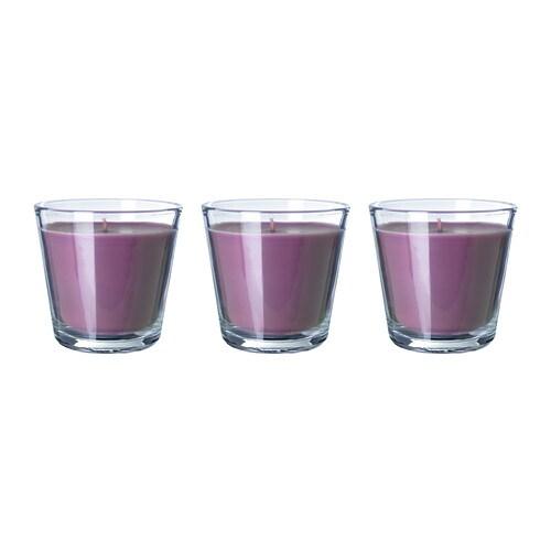 TINDRA LJUV Vela perfumada en vaso IKEA Cuando se haya consumido la vela, ese mismo recipiente puede usarse como portavela.