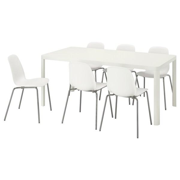TINGBY / LEIFARNE Mesa y 6 sillas, blanco/blanco, 180x90 cm