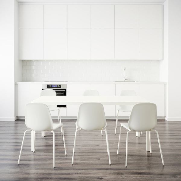 TINGBY / LEIFARNE Mesa y 6 sillas, blanco/blanco, 180 cm