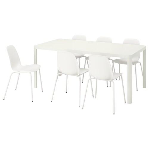 TINGBY / LEIFARNE mesa y 6 sillas blanco/blanco 180 cm 90 cm