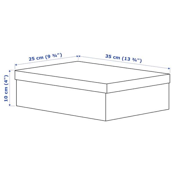 TJENA Caja con tapa, blanco, 25x35x10 cm